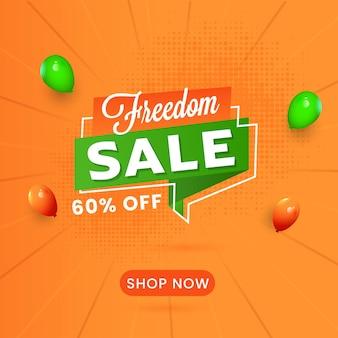 Freedom sale poster design mit 60% rabattangebot und glänzenden ballons auf orangefarbenem halbton-strahlen-hintergrund.