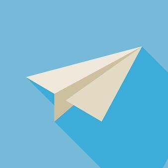 Freelance paper plane illustration mit langem schatten. freiberuflicher papierflieger. geschäft vektor-illustration. flaches design bunte freiberufliche small business-konzept. büroflugzeug aus papier