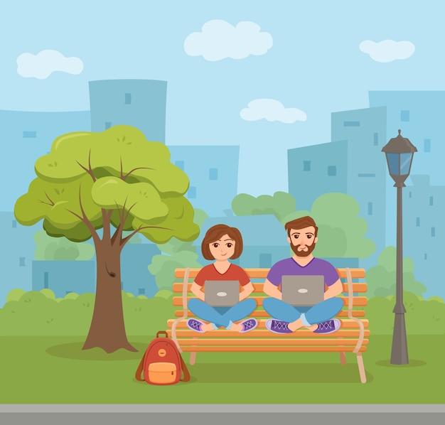 Freelancer glückliche junge frau und männer arbeiten auf der bank im park. illustration flachen stil.