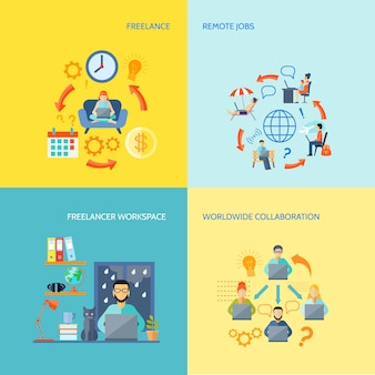 Freelancer workspace weltweite zusammenarbeit und remote-jobs