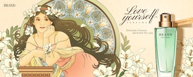 Freesia parfüm banner mit mucha stil göttin hält blumen