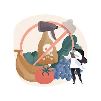Frei von pestizid- und herbizidnahrungsmitteln abstrakte illustration im flachen stil