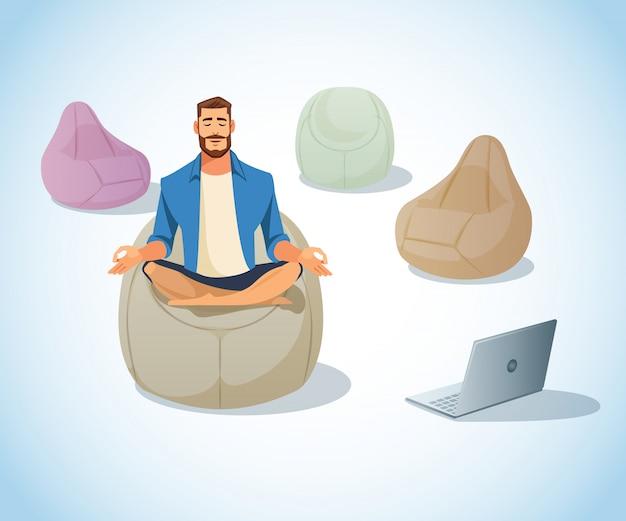 Freiberufler, der im taschen-stuhl-karikatur-vektor meditiert