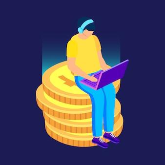 Freiberufler, der mit computer auf münzen arbeitet