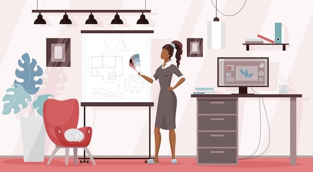 Freiberufler des designers, der vom hauptarbeitsplatz aus arbeitet, karikaturfrau, die farbpalette hält