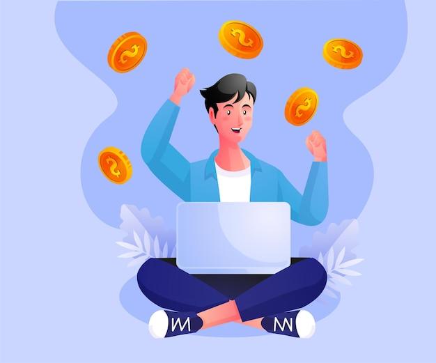 Freiberufler entspannen sich bei der arbeit und verdienen viel geld