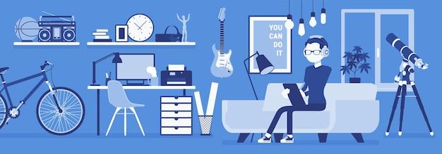 Freiberufler-jungenraumeinrichtung, home-office-design. männlicher freiberufler, der online-job macht, mann, der als unabhängiger selbständiger verdient, gemütlicher arbeitsplatz. vektorillustration, gesichtslose charaktere