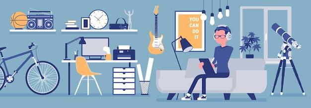Freiberufler-jungenraumeinrichtung, home-office-design. männlicher freiberufler, der online-job macht, mann, der als unabhängiger selbständiger verdient, gemütlicher arbeitsplatz.