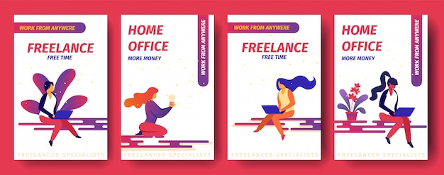 Freiberuflich, freizeit, home office mehr geld, arbeiten von überall aus mobile app page onboard screen set für website.