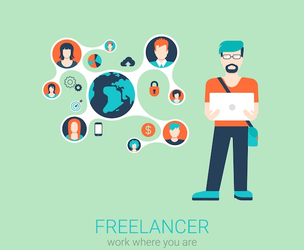 Freiberufliche arbeit flat web infografik konzept. junger stilvoller freiberuflicher mann mit laptop und verbundenen inhaltsprofilen. globale konzeptionelle illustration für telearbeit.