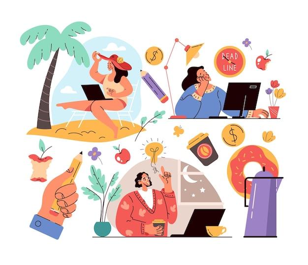 Freiberufliche arbeiter menschen charaktere arbeiten unabhängigkeit freiheit flexibel