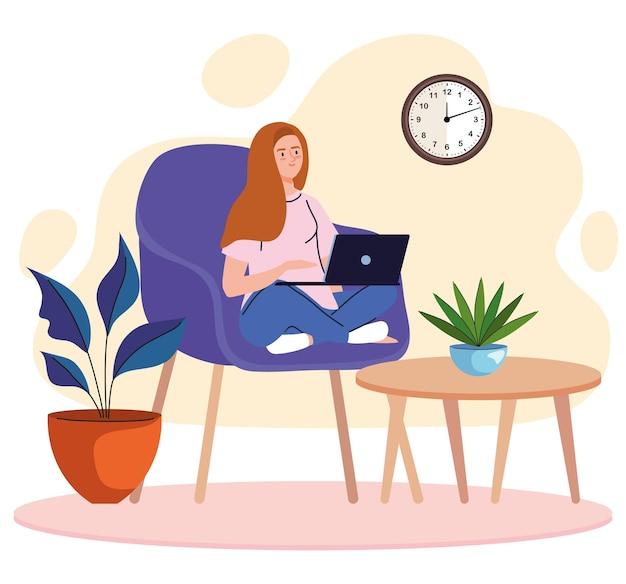Freiberufliche arbeiterin der jungen frau, die im sofa mit laptopcharakter sitzt