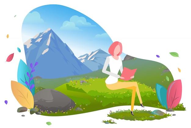 Freiberufliche arbeitnehmerin mit laptop in den bergen