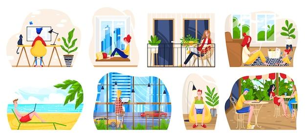 Freiberufliche arbeitsplatzillustration, freiberufliche cartoon-leute, die mit laptop zu hause büro, modernes café oder strand sitzen und arbeiten