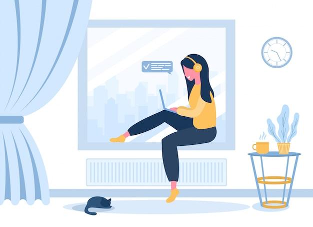 Freiberufliche frauen. mädchen in den kopfhörern mit laptop, der auf der fensterbank sitzt. konzeptillustration für arbeiten, studieren, bildung, arbeiten von zu hause aus, gesunder lebensstil. illustration im flachen stil.
