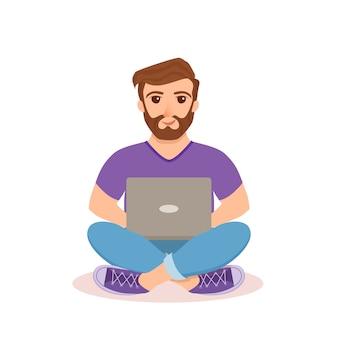 Freiberufliche glückliche junge männer arbeiten. kerl, der mit computer sitzt und laptop verwendet, der netzwerk innerhalb des hauses im flachen stil studiert oder tut.