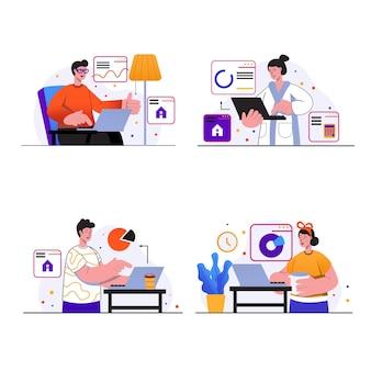 Freiberufliche konzeptszenen stellen menschen mit laptops zu hause ein, freiberufler führen online-arbeiten durch