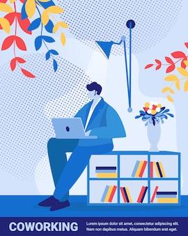 Freiberufliche online-stelle in coworking space, entwickler