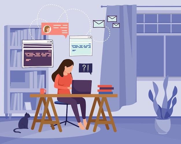 Freiberufliche und fernarbeiter flache komposition mit häuslicher landschaft und frau, die zu hause mit laptop arbeitet