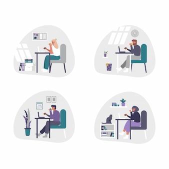 Freiberufliche und geschäftliche männer und frauen, die von zu hause aus arbeiten - home-office-konzeptillustration. männer und frauen sind müde, gelangweilt und schlafen am schreibtisch mit laptop ein.