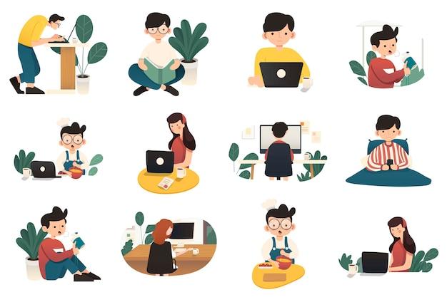 Freiberuflicher charakter, der von zu hause aus in einem entspannten raum arbeitet. freiberufliche mitarbeiter, die von zu hause aus an laptops und computern arbeiten. flaches set