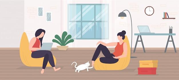 Freiberuflicher charakter, der zu hause arbeitet, von zu hause aus arbeitet, selbstständig ist, illustration für das home office.