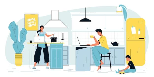Freiberuflicher elternteil, der online am laptop arbeitet.