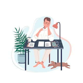 Freiberuflicher schriftsteller flacher farbiger gesichtsloser charakter. mann sitzen am schreibtisch. männlicher autor schreibt roman. zuhause arbeiten. kreative karikaturillustration des kreativen hobby für webgrafikdesign und -animation