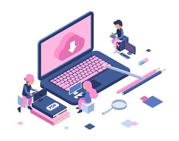 Freiberufliches konzept. remote-mitarbeiter, freiberufliche isometrische vektorillustration. cloud-speicher, junge männer frau arbeiten. designer, arbeiterfiguren. cloud-netzwerk-internet auf freiberuflichem laptop-computer