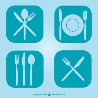 Freien flachküchenutensilien symbole