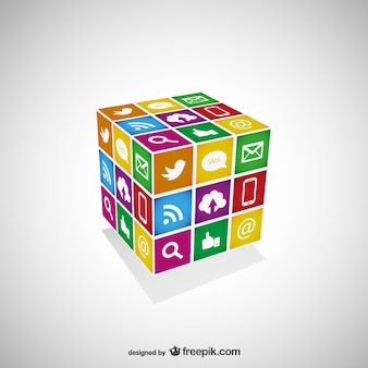 Freien vektor social-media-cube-vorlage