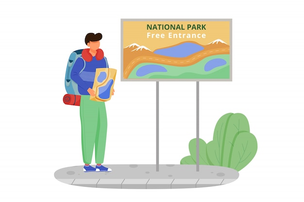 Freier eintritt zur nationalparkillustration. wandertätigkeit, rundgang. günstige reisewahl. tourist mit karte. budget tourismus karikatur charakter auf weißem hintergrund