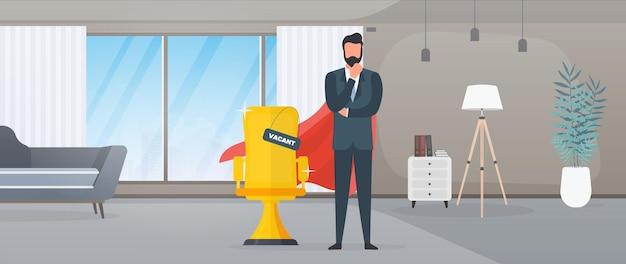 Freier platz. geschäftsmann mit rotem superheldenmantel. bürostuhl in gold. das konzept der offenen stelle, suche und rekrutierung von personal, hr. vektor.