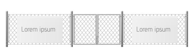 Freier raum, guter platz für realistischen vektor der sichtanzeige im freien. weiße, leere anschlagtafel oder plakat auf maschendrahtzaun mit metallischen säulen und torillustration. sicherheitswarnung