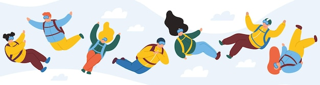 Freifall-charaktere mit extremem fallschirm