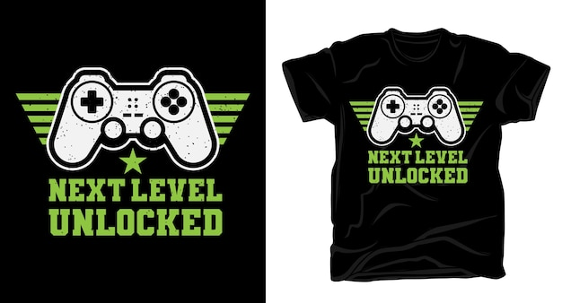 Freigegebene typografie der nächsten stufe mit gamecontroller-t-shirt