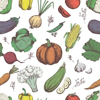 Freihändig zeichnendes gemüse gemüse nahtloses muster