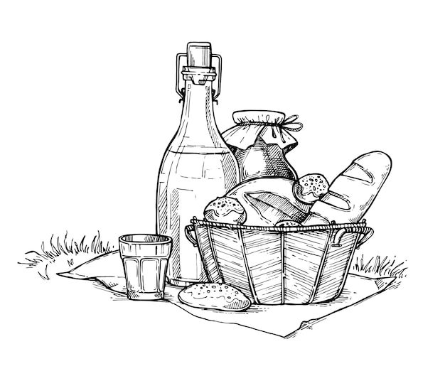 Freihändige bleistiftzeichnung des gesetzten bauernhoflebensmittels