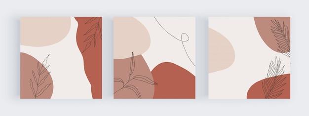 Freihand-social-media-banner mit abstraktem geometrischem design mit handgemalten formen, blättern und linien in pink, braun und nude.