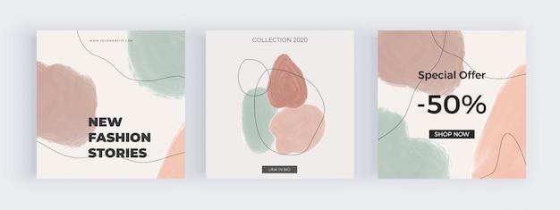 Freihand-social-media-banner mit geometrischen handgemalten aquarellformen