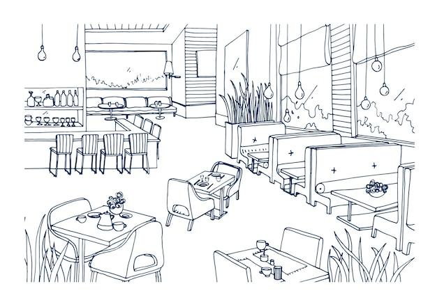 Freihandskizze des möblierten innenraums eines ausgefallenen restaurants oder bistros handgezeichnet mit konturlinien. grobe zeichnung des modernen cafés oder kaffeehauses. monochrome vektorillustration.