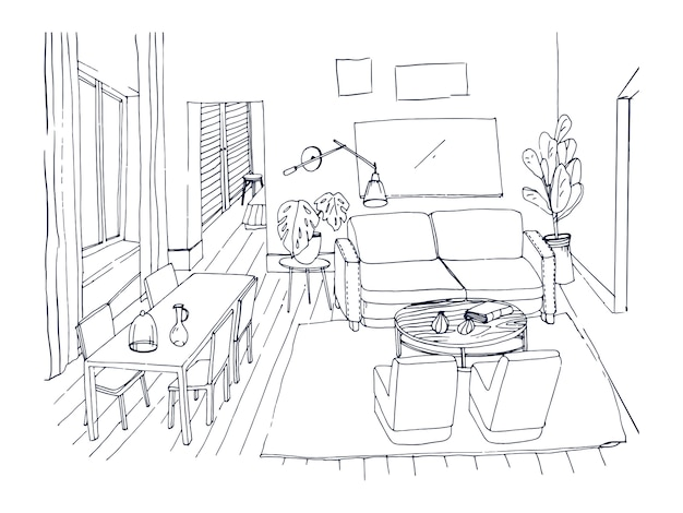 Freihandskizze des wohnzimmers mit fenster, bequemer couch, esstisch, stühlen und anderen möbeln handgezeichnet mit linien. zeichnung eines modernen hauses in gemütlichem stil eingerichtet. illustration.