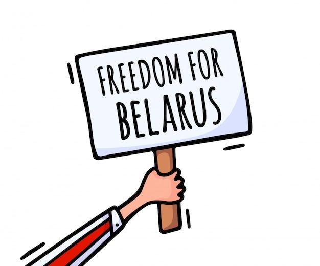 Freiheit für weißrussland auf dem plakat. proteste in belarus nach den präsidentschaftswahlen. ein erhöhtes plakat aus protest