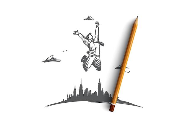 Freiheit, geschäftsmann, arbeit, fröhliches, freies konzept. hand gezeichneter geschäftsmann, der weit von stadtkonzeptskizze springt.