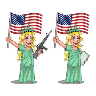 Freiheitsstatue, die flagge und riffel-comedy-cartoon trägt
