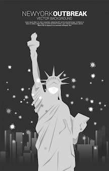 Freiheitsstatue mit maske und panoramastadt und partikel des corona-virus-hintergrunds. konzept für amerika ausbruch und pandemie.