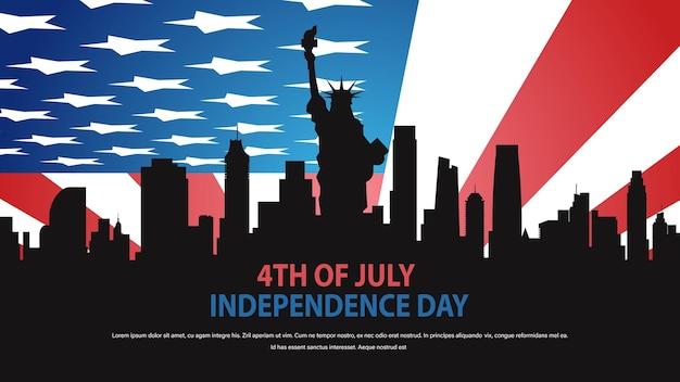 Freiheitsstatue silhouette über vereinigte staaten flagge unabhängigkeitstag feier konzept, 4. juli karte
