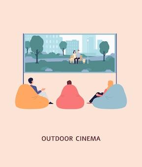Freiluftkino-banner oder -plakat mit leuten, die film schauen