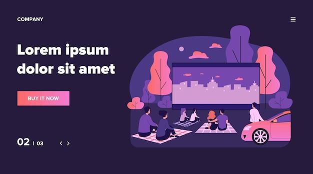 Freiluftkino große leinwand. freunde und dating-paare schauen sich nachts einen open-air-film an. illustration für abend freizeit, urlaub, wochenendkonzept