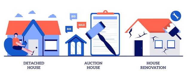Freistehendes und auktionshaus, hausrenovierung. set von kaufen einfamilienhaus